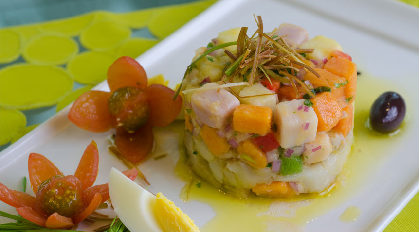 Root vegetable ceviche with codfish by Chef Daniel Vasse.