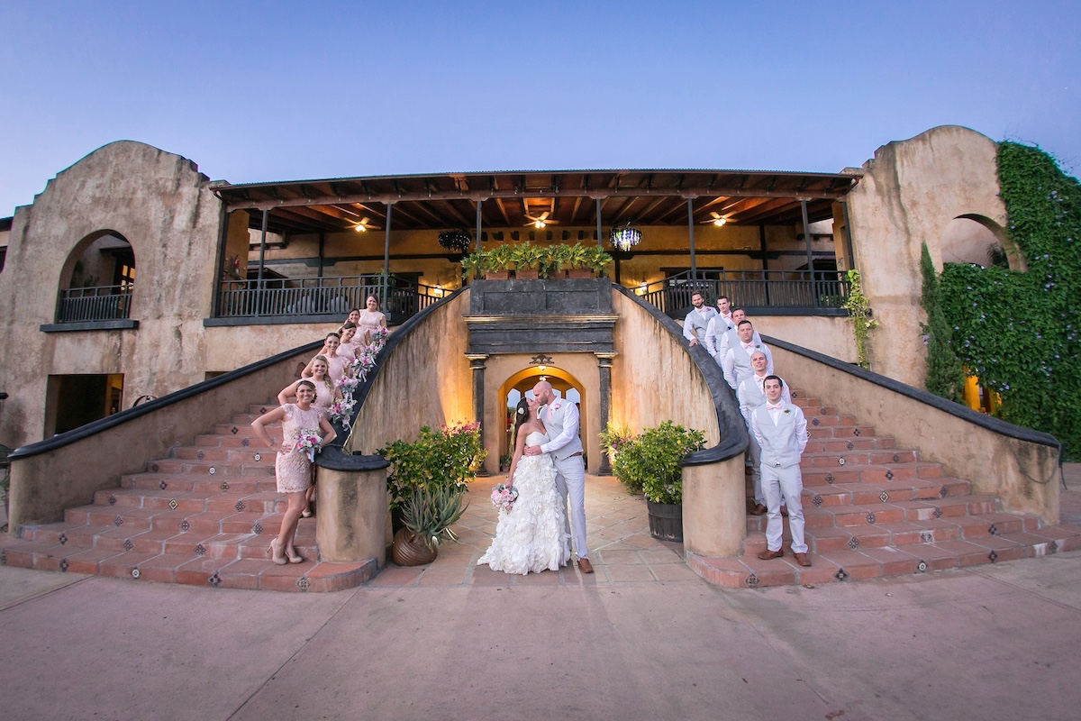 The grand double staircase at Hacienda Campo Rico in Carolina offer two of the most memorable outdoor ceremony on the entire island.