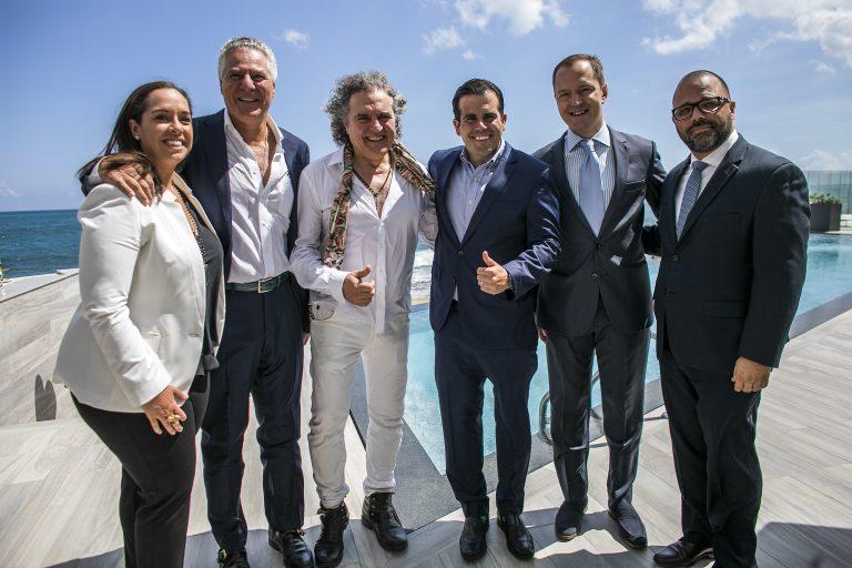 Carla Campos, Vittorio Assaf y Fabio Granato, Governor of Puerto Rico Ricardo Rossello, Pierre-Alex Maillard, and Manuel Laboy