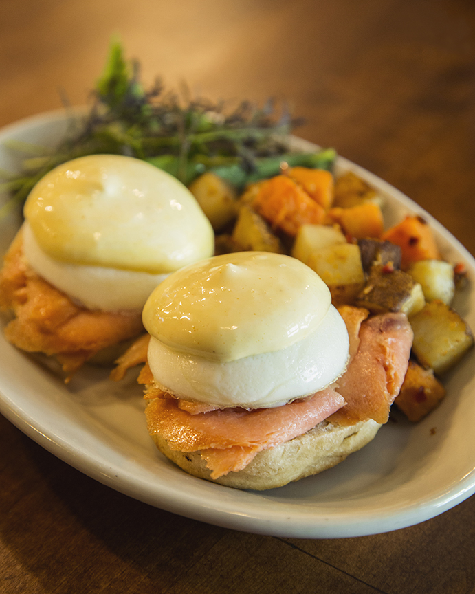 Eggs Benedict with a side of red potatoes is served at Debut Cocina Rustica in Aguadilla.