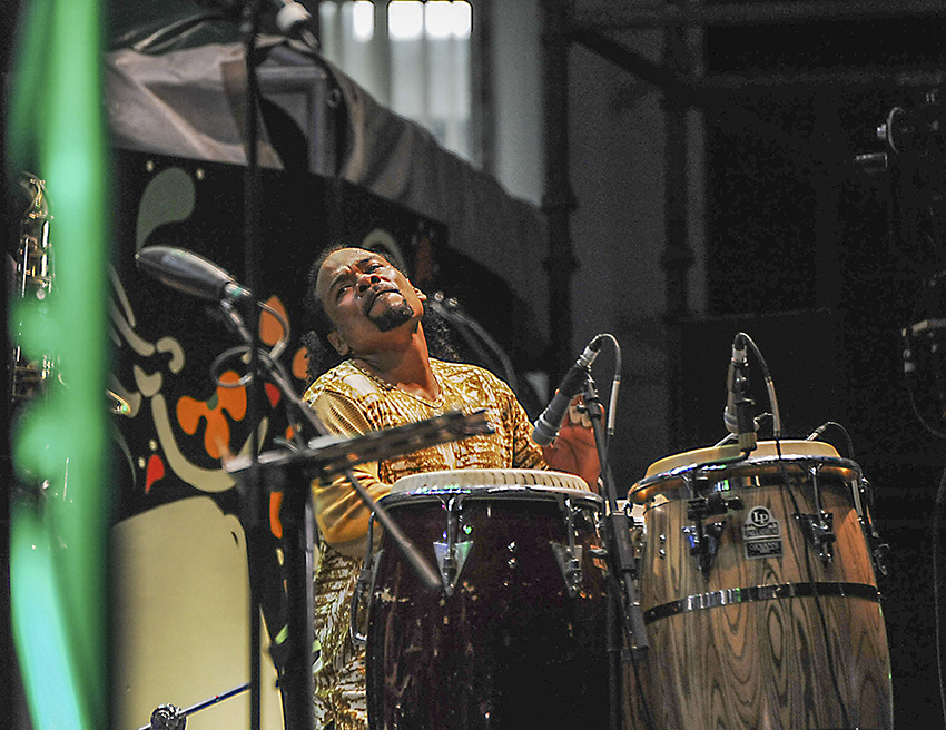 Paoli Mejias is the master drummer on tour with Carlos Santana.