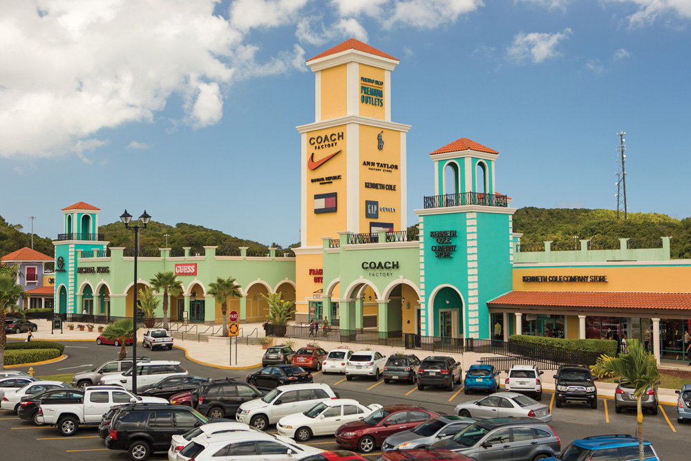 Puerto Rico Premium Outlets, which looks like a colorful country offers big bargains on famous clothing and other accessories.