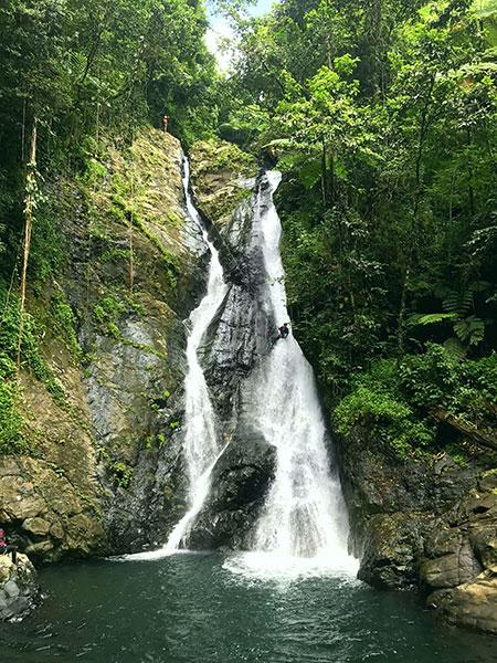 Alexis Rivera coming down Rio Fajardo's Dos Brazos waterfall in Fajardo/Ceiba.